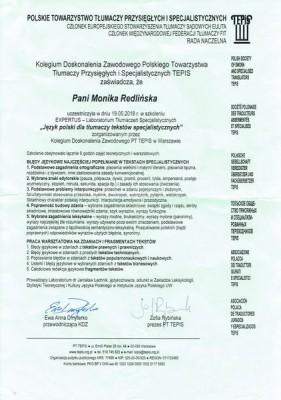 Monika-Redlinska-certyfikaty-szkolenie