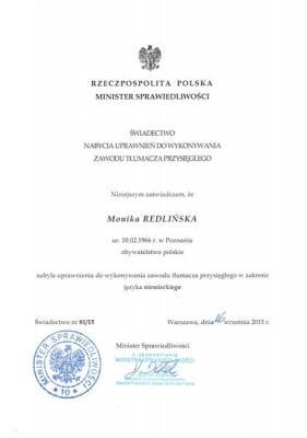 Monika-Redlinska-certyfikaty-uprawnienia